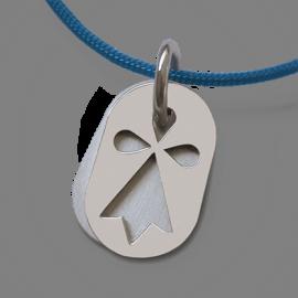 Medalla de bautismo ERMINI en oro blanco 750 milésimas y cordón púrpura de la colección de joyas para niños MIKADO.