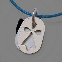 Médaille de baptême ERMINI en or blanc 750 millièmes et cordon violet de la collection de bijoux pour enfants MIKADO.