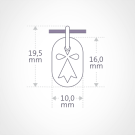 Dimensions de la médaille de baptême ERMINI de la collection de bijoux pour enfants MIKADO.