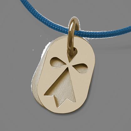 Médaille de baptême ERMINI en or jaune 750 millièmes et cordon violet de la collection de bijoux pour enfants MIKADO.