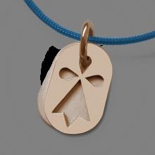 Medalla de bautismo ERMINI en oro rosa 750 milésimas y cordón azul vaquero de la colección de joyas para niños MIKADO.