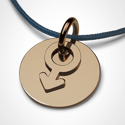 I AM A BOY pendant in 750 yellow gold by the jewellery collection for children MIKADO.