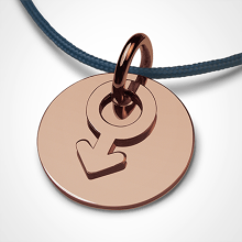 I AM A BOY pendant in 750 pink gold by the jewellery collection for children MIKADO.