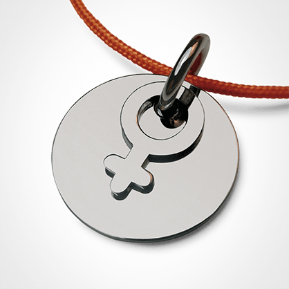 Baptism pendant I AM A GIRL made of 925 sterling silver and malabar cord from the MIKADO children's jewellery collection.