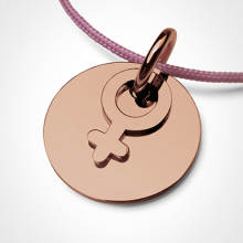 I AM A GIRL pendant in 750 pink gold by the jewellery collection for children MIKADO.