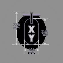 Dimensiones del colgante de bautizo GENETIX BOY de la colección de joyería infantil MIKADO.