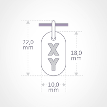 Dimensions of the GENETIX BOY pendant from MIKADO jewellery for kids.