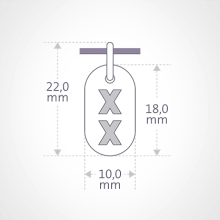 Dimensions of the GENETIX GIRL pendant from MIKADO jewellery for kids.