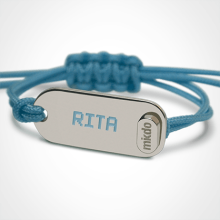 LIFE identity bracelet in 925 silver and lagoon blue chord by the jewellery collection for children MIKADO.