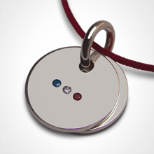 HOMELAND birth Pendant in 925 sterling silver and cherry cord from the MIKADO children's jewellery collection.