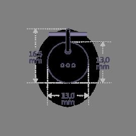 Dimensions du pendentif de naissance HOMELAND de la collection de bijoux pour enfants MIKADO.