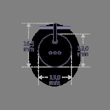 Dimensiones del colgante de nacimiento HOMELAND de la colección de joyería infantil MIKADO.