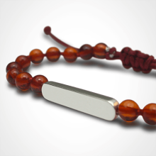 MARACAS bracelet in silver 925 thousandths and amber beads from the MIKADO children's jewellery collection.
