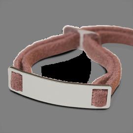 Bracelet SKIN en argent 925 millièmes et daim rose de la collection de bijoux pour enfants MIKADO.