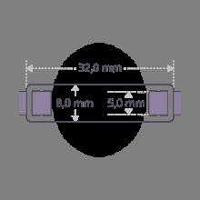Dimensiones del brazalete de piel de la colección de joyería infantil MIKADO.