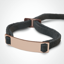 SKIN identity bracelet in 750 pink gold and grey lanyard by the jewellery collection for children MIKADO.