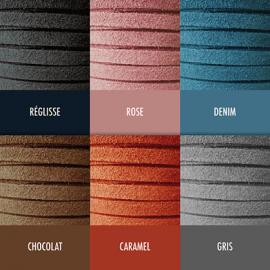 Nuancier des 6 couleurs de lanière en daim de la collection de bijoux pour enfants MIKADO.