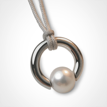 MOANA pendant in 750 white gold and white pearl by the jewellery collection for children MIKADO.
