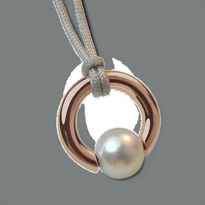 Pendentif MOANA en or rose 750 millièmes et perle blanche de la collection de bijoux pour enfants MIKADO.