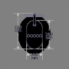 Dimensions du pendentif RAMBO de la collection de bijoux pour enfants MIKADO.