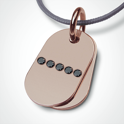 RAMBO pendant in pink gold 750 thousandths and black diamonds from the MIKADO children's jewellery collection.