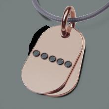 Pendentif RAMBO en or rose 750 millièmes et diamants noirs de la collection de bijoux pour enfants MIKADO.