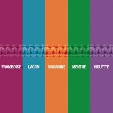 Nuancier des 5 couleurs de cordon waterproof pour le pendentif CORCOVADO en argent de la collection MIKADO.