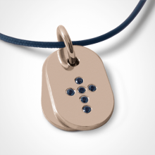 CORCOVADO pendant in 750 pink gold and blue sapphire by the jewellery collection for children MIKADO.