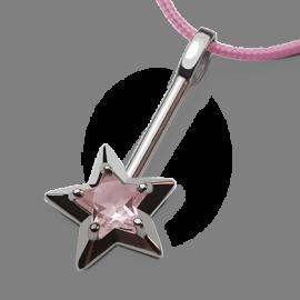 Colgante ABRACADABRA de plata esterlina 925 y cuarzo rosa de la colección de joyería infantil MIKADO.
