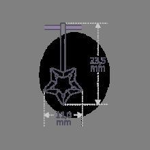 Dimensiones del colgante ABRACADABRA de la colección de joyería infantil MIKADO.