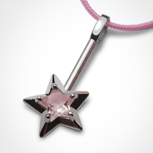 ABRACADABRA pendant in 750 white gold and pink quartz by the jewellery collection for children MIKADO.