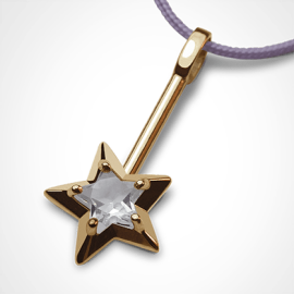 ABRACADABRA pendant in 750 yellow gold and rock cristal by the jewellery collection for children MIKADO.