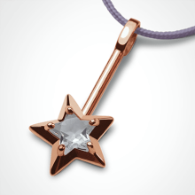 ABRACADABRA pendant in 750 pink gold and rock cristal by the jewellery collection for children MIKADO.