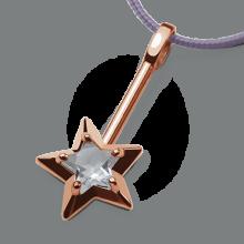 Pendentif ABRACADABRA en or rose 750 millièmes et cristal de roche de la collection de bijoux pour enfants MIKADO.