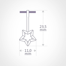 Dimensions of the ABRACADABRA pendant.