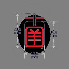 Dimensions du pendentif ASIA (signe astrologique chinois de la chèvre) de la collection MIKADO.