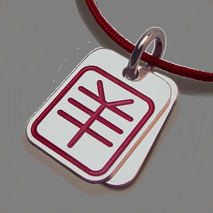 Colgante ASIA (signo astrológico chino de la cabra) en plata 925 milésimas y cordón de cereza de la colección MIKADO.