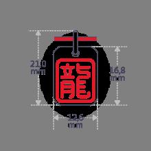 Dimensions du pendentif ASIA (signe astrologique chinois du dragon) de la collection de bijoux pour enfants MIKADO.