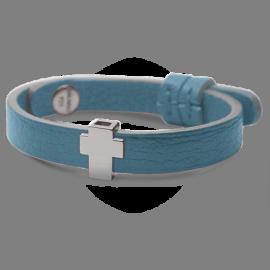 Bracelet GOSPEL en argent 925 millièmes et cuir ciel de la collection de bijoux pour enfants MIKADO.