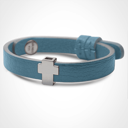 GOSPEL bracelet in 925 sterling silver and sky blue leather strap by MIKADO jewellery collection for kids.