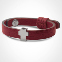 GOSPEL bracelet in 750 white gold and cherry leather strap by MIKADO jewellery collection for kids.