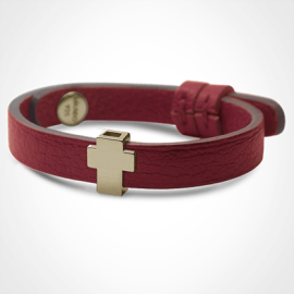 GOSPEL bracelet in 750 yellow gold and cherry leather strap by MIKADO jewellery collection for kids.