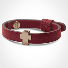 Bracelet GOSPEL en or rose 750 millièmes et cuir cerise de la collection de bijoux pour enfants MIKADO.