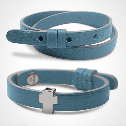GOSPEL bracelet pack in 925 sterling silver and sky blue leather from the MIKADO children's jewellery collection.