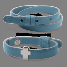 Pack bracelet GOSPEL en argent 925 millièmes et cuir ciel de la collection de bijoux pour enfants MIKADO.