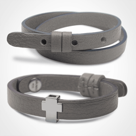 GOSPEL bracelet pack in 750 white gold and grey leather from the MIKADO children's jewellery collection.