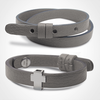 Pack bracelet GOSPEL en or blanc 750 millièmes et cuir galet de la collection de bijoux pour enfants MIKADO.