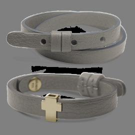 Pack bracelet GOSPEL en or jaune 750 millièmes et cuir galet de la collection de bijoux pour enfants MIKADO.