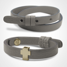GOSPEL bracelet pack in 750 yellow gold and grey leather from the MIKADO children's jewellery collection.