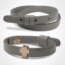GOSPEL bracelet pack in 750 pink gold and grey leather from the MIKADO children's jewellery collection.